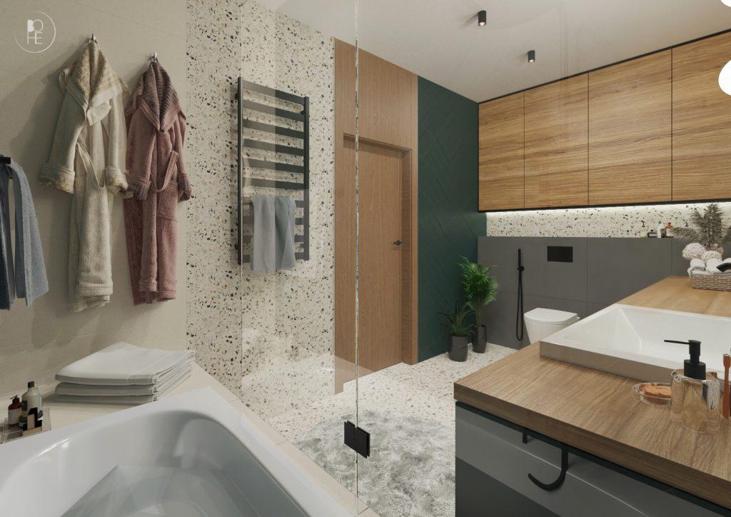 duża białozielona łazienka z lastryko dla dzieci wnętrza białystok 1