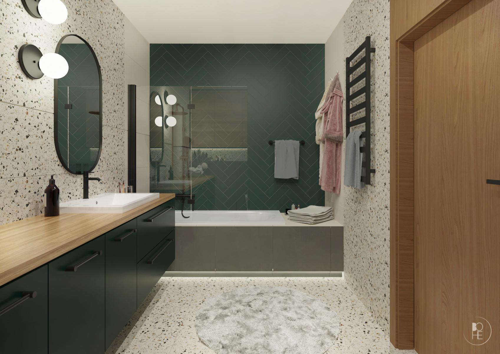 duża białozielona łazienka z lastryko dla dzieci wnętrza białystok 2