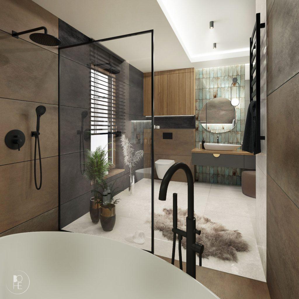 nowoczesna łazienka domowa strefa relaksu w ziemistych kolorach warszawa kraków gdańsk poznań architekt białystok 1