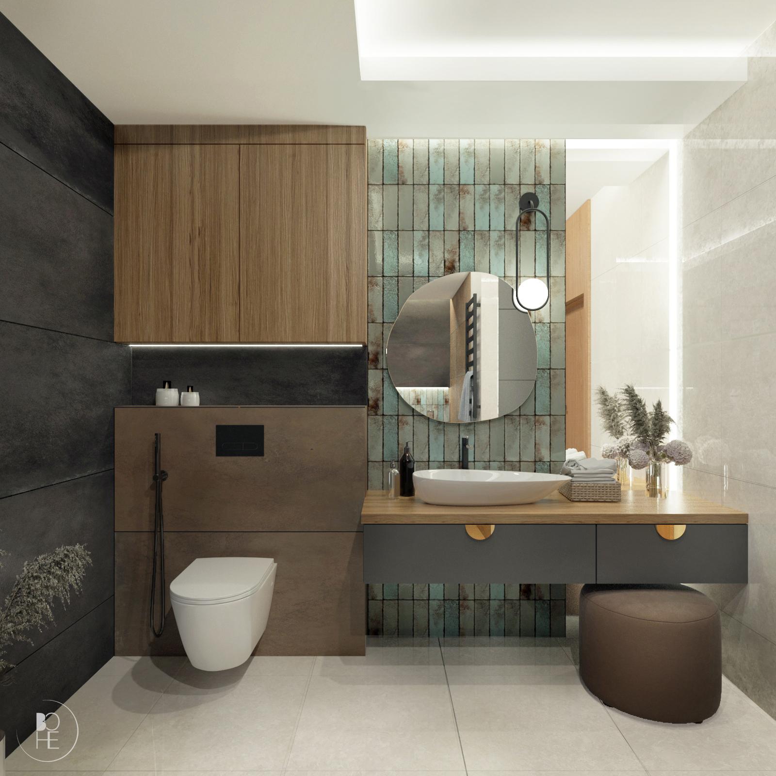 nowoczesna łazienka domowa strefa relaksu w ziemistych kolorach warszawa kraków gdańsk poznań architekt białystok 2