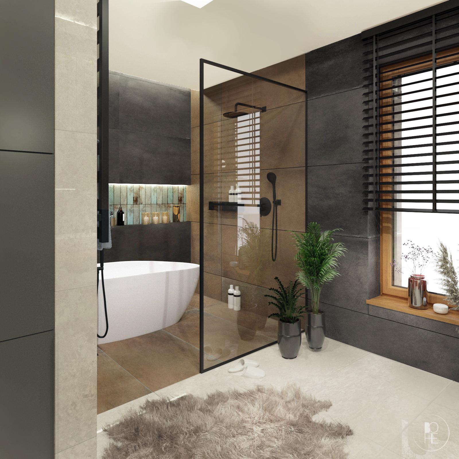 nowoczesna łazienka domowa strefa relaksu w ziemistych kolorach warszawa kraków poznań architekt wnętrz białystok