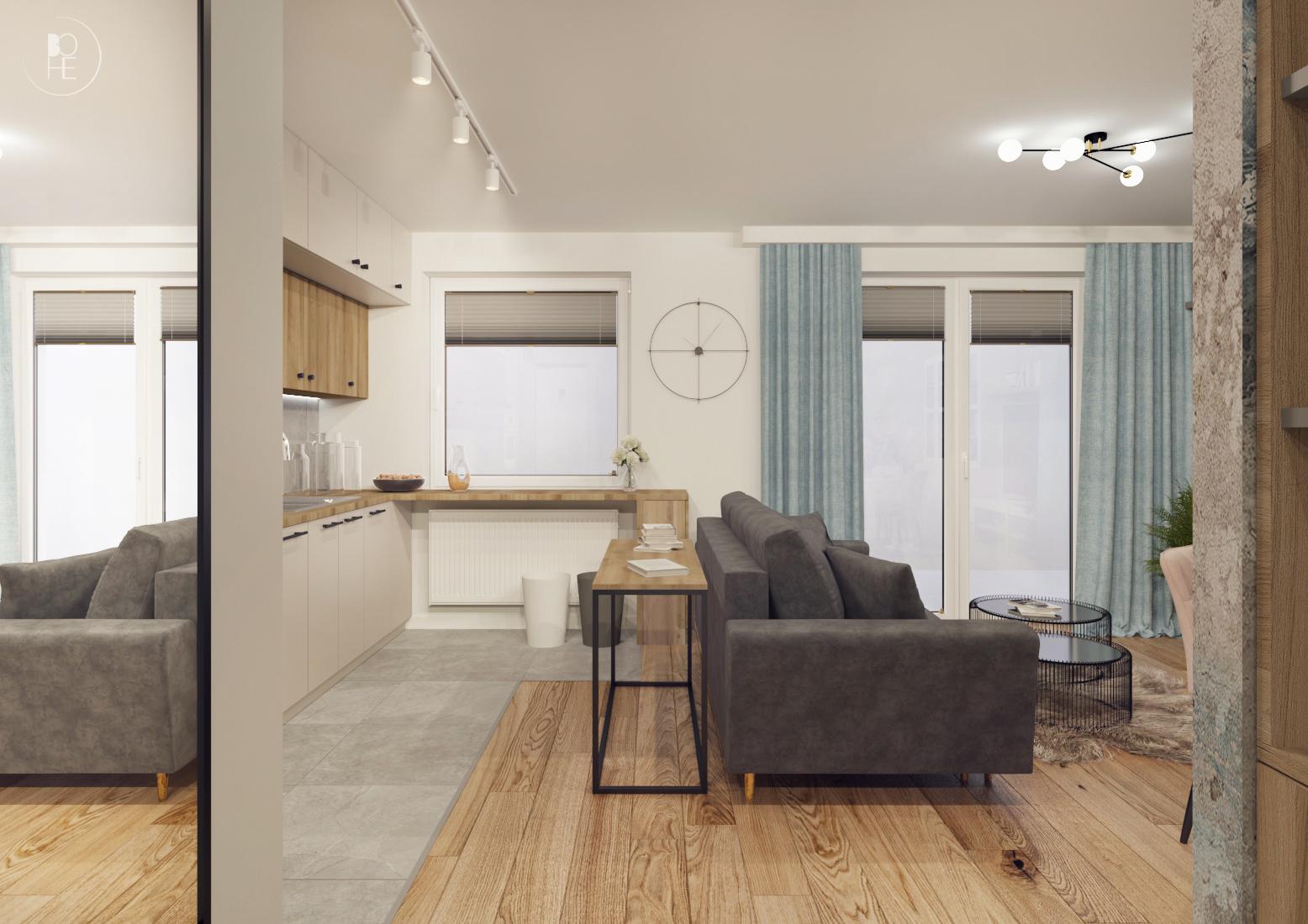 projekt wnętrz mieszkania w pastelowych barwach w bloku białystok 1