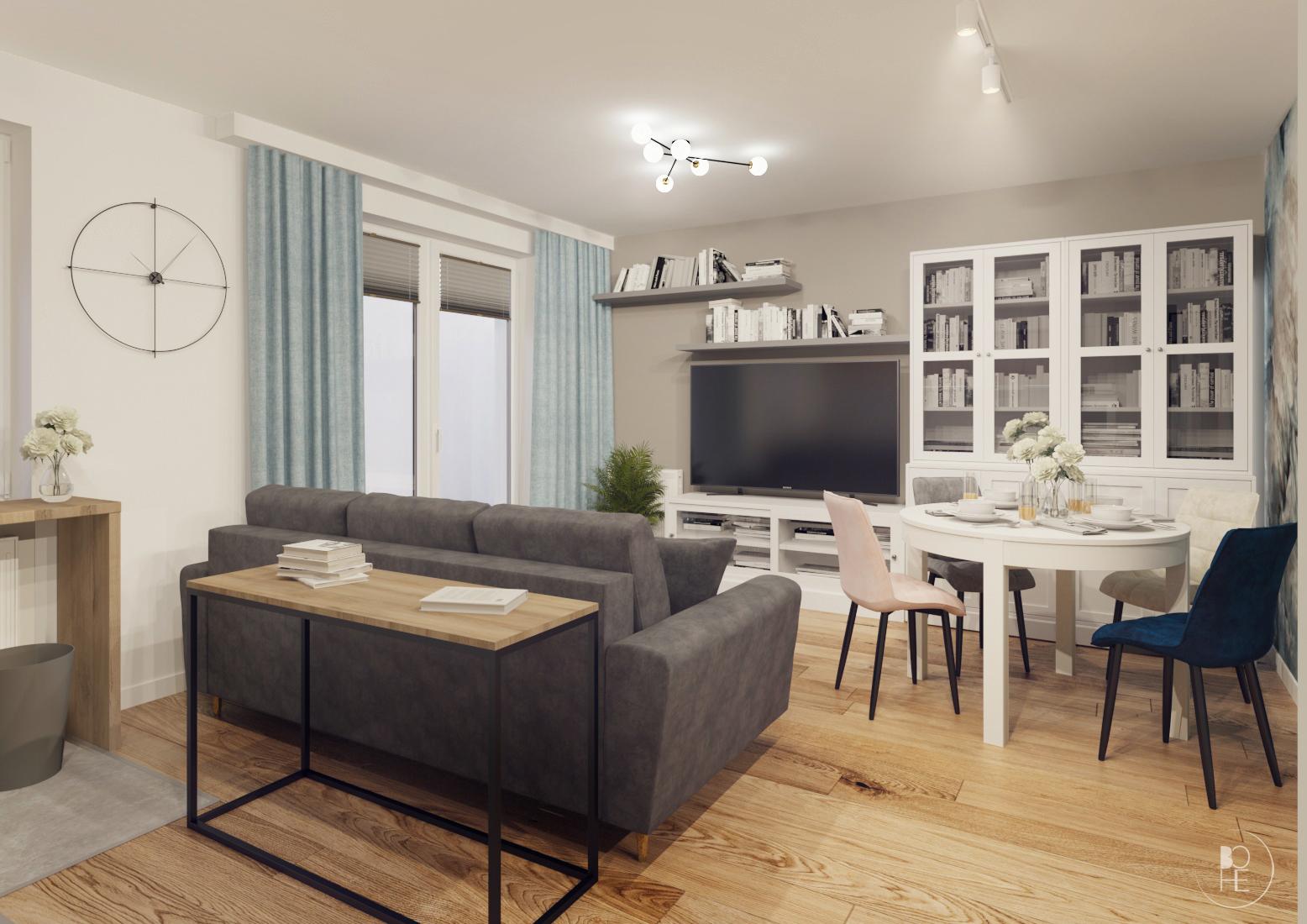 projekt wnętrz mieszkania w pastelowych barwach w bloku białystok 2