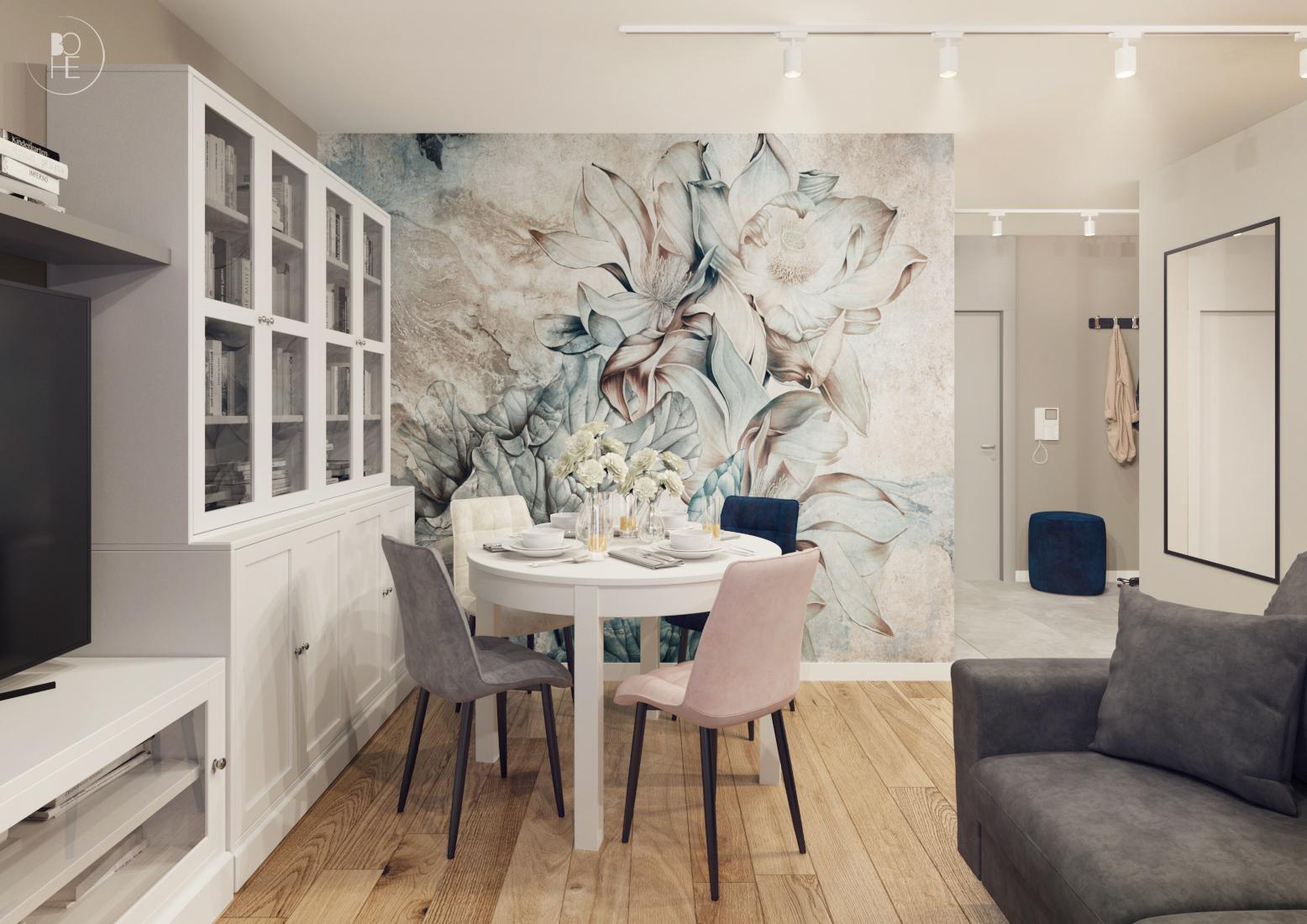 projekt wnętrz mieszkania w pastelowych barwach w bloku białystok 4
