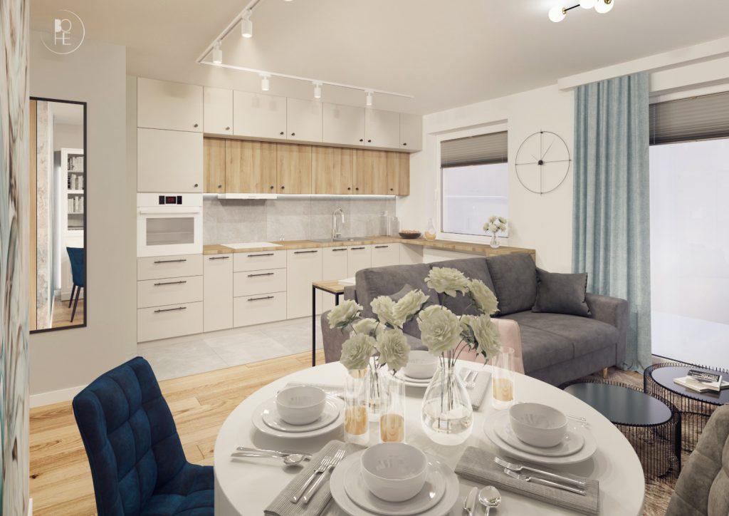 projekt wnętrz mieszkania w pastelowych barwach w bloku białystok 6 architekt wnętrz białystok